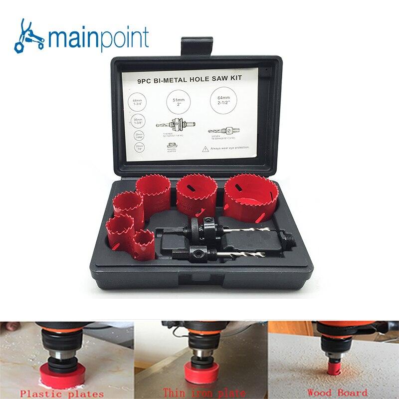 Mainpoint 9Pc HSS Bi-Metal Hole Saw Kit Drill Bit Power Accessorie Set 22-64mm Cutting Metal Steel Plastic Wood Sheet Hand Tools<br>