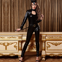 Buy Women Latex Catsuit Erotic Costumes Tights Cat Suit Club DS Game Play Sexy Bodysuit Fantasias Catwoman Headdress Cosplay Costume