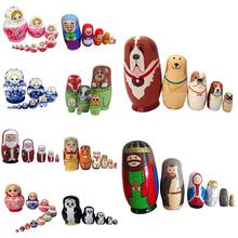 New Baby Toy Nesting Dolls Wooden Matryoshka Set Russian Dolls Hand Painted Home Decoration Birthday Gifts High Quality