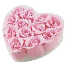 12 Pcs Bathing Pink Rose Bud Flower Petal Soap + Heart Shaped Box