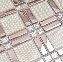 white glass mixed silver stainless steel mosaic and diamond for kitchen backsplash tile bathroom shower tile hallway border