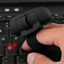 1pc Black USB Wired Finger Rings Optical Mouse 1200Dpi Mini Mouse For PC Laptop Desktop Portable Finger Mice(China)