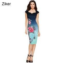 Ziker New Fashion Summer Print Flower Pencil Dresses Women Sexy V-Neck Slim  Bodycon Casual Work Dress S-XXL. US ... bd757bac6fcf