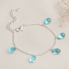 8SEASONS Silver Color Blue Mermaid Tear Drop Beads Transparent  Lampwork Glass Bracelet 14cm long, 1 Piece