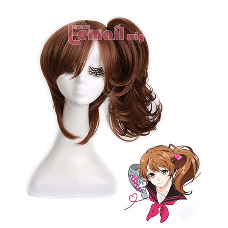 Free Shipping Fashion Synthetic Fiber Hair Anime EMA Brothers Conflict Dark Brown Cosplay Wig with Ponytail<br><br>Aliexpress