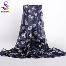 [BYSIFA] Fall Winter Scarves 2017 Lastest Chinese Silk Long Large Scarves Wraps Navy Blue Floral Ladies Fashion Head Scarf Shawl