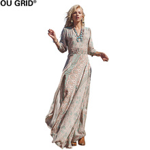 Buy Women Vintage Dress Three Quarter Sleeve V-neck Spring Summer Thin Beach Dresses Sexy Split Hem Maxi Long Print Dress for $18.61 in AliExpress store
