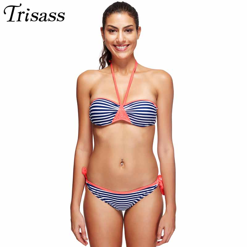 Sexy Striped Halter Bikinis Set Women 2017 Swimsuit Push Up Biquini Plus Size Swimwear Strappy Bathing Suit Maillot de bain 3XL<br><br>Aliexpress
