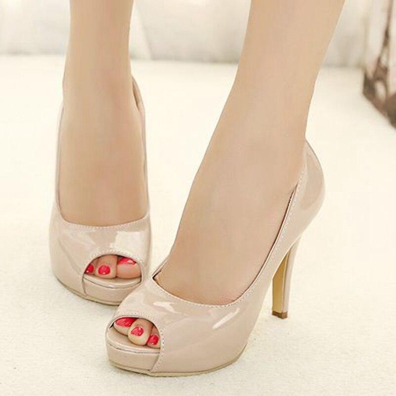 Women Patent Leather Peep Toe Thin High Heel Platform Shoes Woman Heels Open Toe Pumps JM2349-12<br><br>Aliexpress