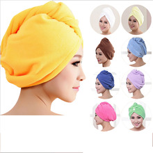 2017 8 Colors Microfiber Solid Hair Turban Quickly Dry Hair Hat Womens Girls Lady's Cap Bathing Tool Drying Towel Head Wrap Hat