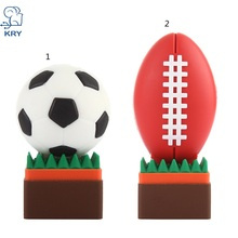 KRY plastic cartoon soccer usb flash drive 2.0 4GB 8GB 16GB 32GB 64GB creative rugby toy gift pen drive u disk free shipping(China)
