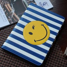 working relax simple smile pattern leather cover for ipad mini 4 mini 1 2 3 case color stripe design smiling face tablet case