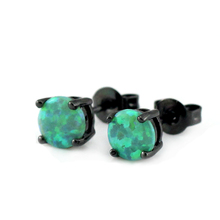 Free Gift Box Women and Men's Earring Synthetic Green Fire Opal Earring Black Gold Color Opal Stud Earrings Free Shipping OE269(China)