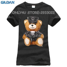 2017 new summer fashion Women's short sleeve super cute vogue Police bear Teddy T-shirt white tops cool hipster tees(China)