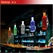 Best Price Bubble Crystal Bottle Pendant Lights BAR lamp creative personality LED restaurant crystal art 6 color for shoose(China)