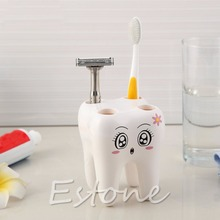 New White Lovely Cartoon Tooth Shape Design 4 Holes Toothbrush Holder Brackets