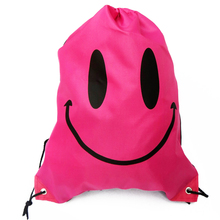 Cute Waterproof Drawstring Sport Backpack Sack Bag for Kid Teenager (Smiley Face Red)(China)