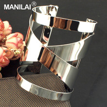 MANILAI Fashion Accessories 2016 Unique Design Bracelets Women Big Opened Cuff Cross Alloy Bangles Charm Jewelry B361
