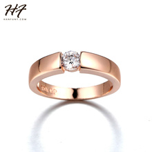 Rose Gold Color CZ Crystal High Polish Wedding Band Ring for Man and Woman R400