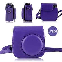 Fujifilm Instax Mini 8 8 Plus 9 Film Camera Protective Bag Purple Grape PU Leather Case Cover Pouch Protector W/ Shoulder Strap(Hong Kong)