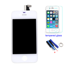 White For iPhone 4 LCD Display Touch Screen Digitizer Assembly+Tempered Film+Tools Free Shipping+Tracking No.