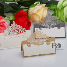 120PC/lot Champagne Crown Party Table Name Place Cards Casamento Souvenirs Wedding Invitations Decor Queen Princess party(China)