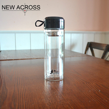 Gohide 1Pcs High-End Portable Business Advertising Gift Double-Layer Glass Tea Bottle Water Bottle Logo Printing