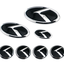 7pcs/Set car K Logo Sticker Decal Red / Black Steering Wheel Emblem 60mm for KIA K Center Cap Badge car styling(China)