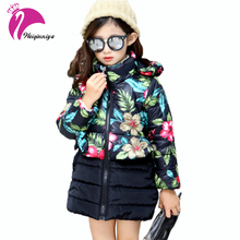 Buy Winter Girls Jackets Kids Warm Floral Print Outerwear Coat Kids Hooded Thicken Cotton-padded Clothes Fashion Children Clothing for $23.16 in AliExpress store