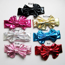 Kids hair accessories fashion head wrap faux leather big messy bow on stretch wide sparkly headband