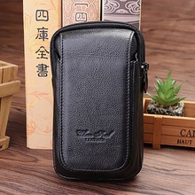 100% Genuine Leather Fanny Waist Pack For Men Hip Bum Hook Purse Pouch Cell/Mobile Phone Case Cover Loops Belt Bags High Quality