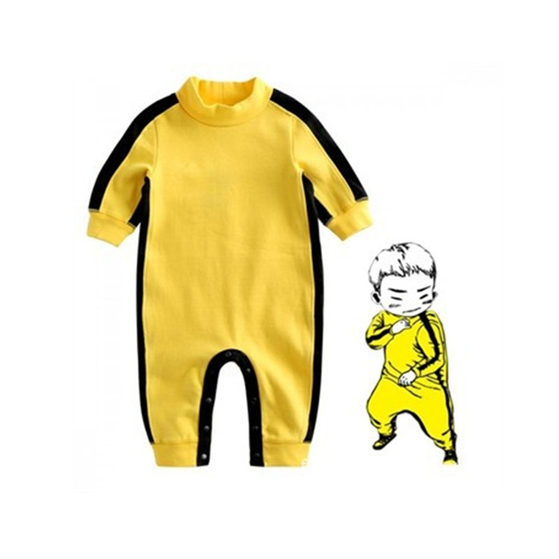 Baby Rompers Baby Boys Yellow Rompers Kung Fu Rompers Jumpsuits Outfit Autumn Baby Kids Rompers Baby Boy Clothes<br>