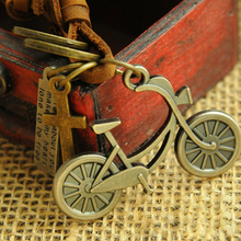 Vintage leather rope necklace long bike male leather cord necklace male female Bicycle pendant necklace male Fine Jewelry