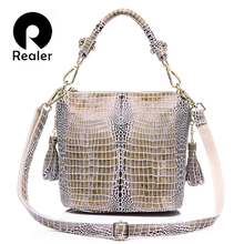 Buy REALER genuine leather handbag women small totes shoulder crossbody bags ladies classic serpentine pattern leather bucket bag for $31.49 in AliExpress store