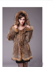 women knitted rabbit fur coat overcoat coats jackets garment & raccoon fur