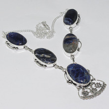Sodalite Necklace Silver Overlay over Copper , 49.5cm, N1079(China)