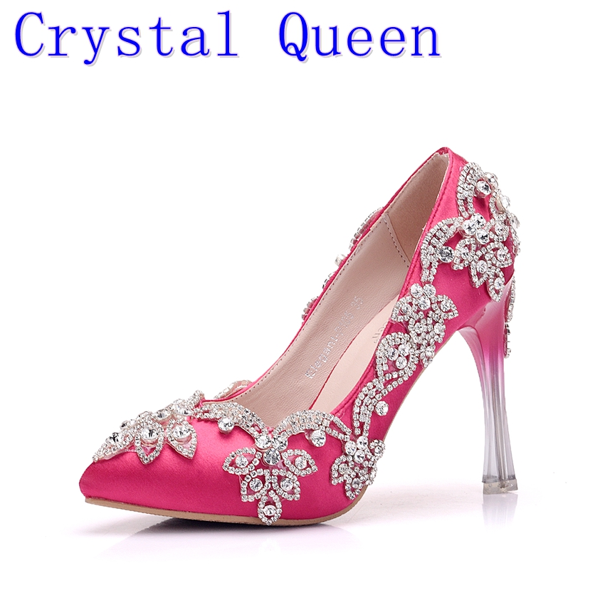 Crystal Queen Fashion Rhinestone Pumps Heels Wedding Shoes For Women White Platform Wedges High Heels Wedding Shoes <br>
