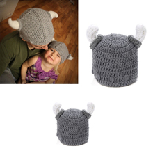 Hot Toddler Baby Cute Ox Horn Design Crochet Knit Warm Hat Baby Adult Photography Props Accessories 5HT57(China)