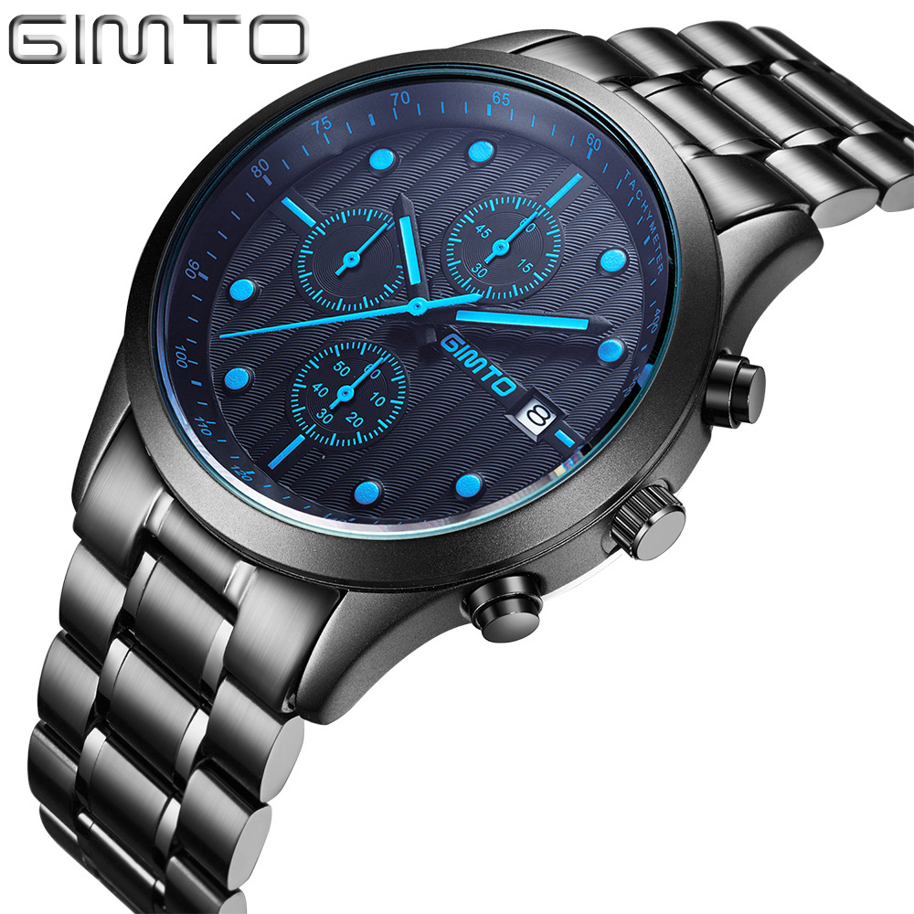 Unique Men Watch Black Steel Waterproof Man Sport Watch Luxury Fashion Male Dress Business Clock Army Military Watch <br>