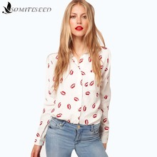 2017 New Fashion White And Red Lip Print Chiffon Blouse&Shirt Lady Fashion Long Sleeve Blouse Shirt Autumn Women Tops Blouse