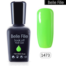 Belle Fille 15ml Gel Nail Polish Fluorescent Colors UV Gel Nail Polish Green Gelpolish Neon Pink UV LED Soak Off Glitter Varnish(China)