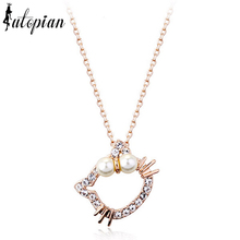 Iutopian Cute Hello Kitty Pendant Necklace With Simulated Pearl For Girl Children Jewelry Anti-allergy #RA30556