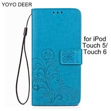 Leather Wallet Case for iPod Touch 5/ Touch 6 Lucky Clover Design PU Wallet Card Holder Stand Flip Pod Bag Case Cover