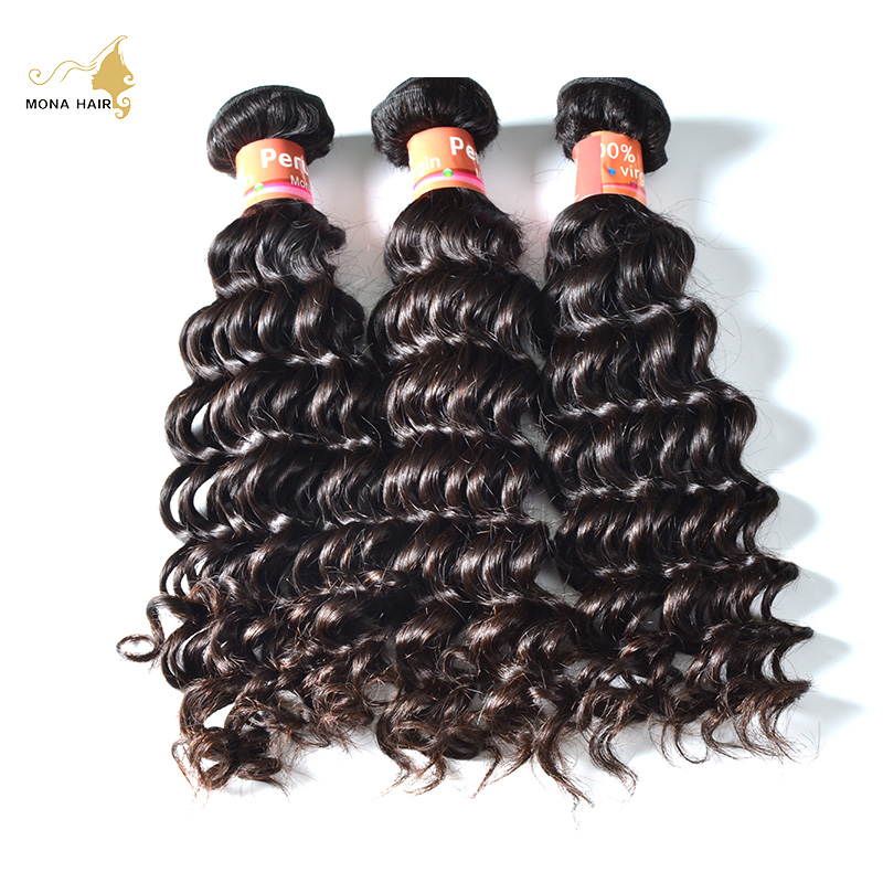 Mona Hair Company 8A Grade Peruvian Virgin Hair Deep Wave 1pc/lot 100% Tangle and  Shed Free Cheap Hair Bundles Free Shipping<br><br>Aliexpress