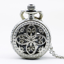 PS564 Fashion Hollow Out Flower Retro Style Quartz Pocket Watch Silver Pendant Necklace Watches With Chain