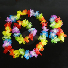 4 / Set NEW Hawaiian Colorful Leis Beach Theme Luau Party Flower Necklace Garlands For Party Decoration