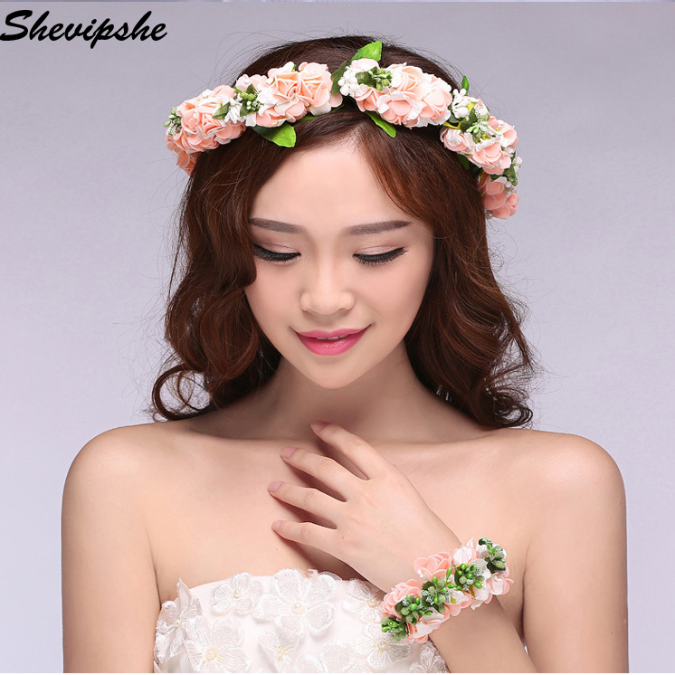 Aliexpress Com Women Beach Wedding Hair Bands Flowers Accessories Fl Crown S Summer Headwear Flower Wreath Wristband Headband From