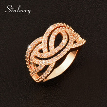 SINLEERY Lxuury Full Crystal Hollow Lace Shaped Women Engagement Ring For Wedding Party Prom Jewelry Gifts JZ099 SSD(China)