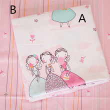 160cm*50cm  pink girl sisters cotton fabric baby cloth kits bedding quilting kids clothes patchwork tecido craft sewing material