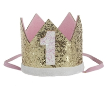 Baby First 1st Birthday Party Hat Gold Priness Crown One Two Three Year Old Glitter Hair Accessory